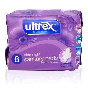 Ultrex Ultra Night Sanitary Pads with Wings 8 Pack