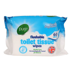 Pure Flushable Toilet Tissue Wipes 60 Pack