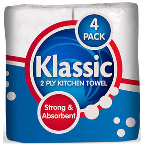 Klassic Value Kitchen Towel 4 Pack - Case of 12 White 2ply