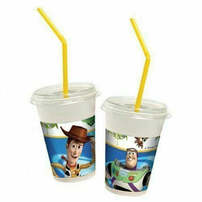 Toy Story Plastic Cups With Push Lids and Straws