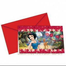 Disney princess Snow White 6 Party Invitations with Envelopes