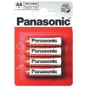Panasonic Zinc Carbon AA Battery 4 Pack - Case of 12