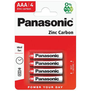 Panasonic Zinc Carbon AAA Battery 4 Pack - Case of 12 R03R
