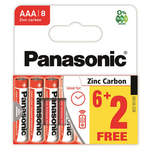 Panasonic Zinc Carbon AAA Battery 8 Pack 6 + 2 Free - Case of 20 R03