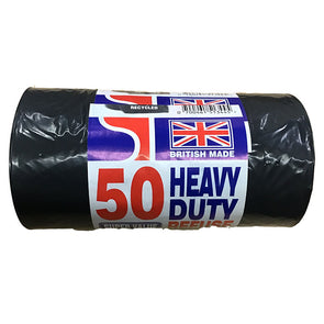 Heavy Duty Black Refuse Bags Waste Bin Liners Sacks Rubbish Bags 50 Pack Roll