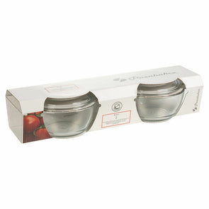 Pasabahce Round Casserole Glass Bowl with Cover Twin Pack