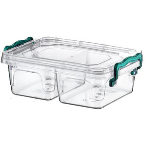 Hobby Life Rectangular Lunch Food Container Storage 2 Compartment Box 0.5 Litre - Case of 10