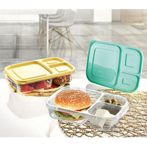 Hobby Life Rectangular Airtight Food Saver Smart Storage Box 3 Compartment 1.15L - Case of 10