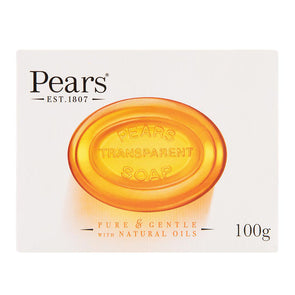 Pears Transparent Amber Soap Bar Pure & Gentle with Natural Oils 100g - Case of 12