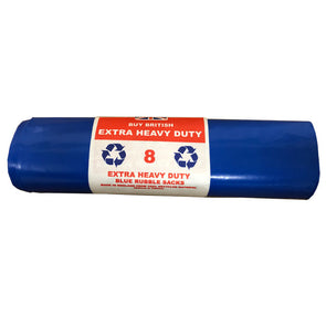 Extra Heavy Duty Blue Rubble Sacks with 8 Bags on a Roll