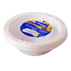 15 Pack 6 Inch White Plastic Disposable Bowls