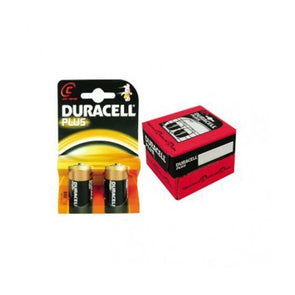 A pack of 2 Duracell PLUS C size batteries