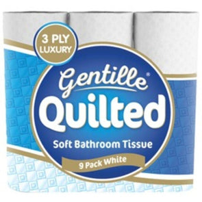 Pack of 9 rolls Gentille quilted white toilet rolls
