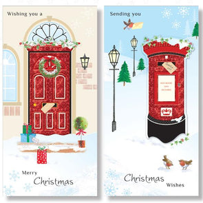Xmas 8 pack Handcrafted Postbox or Frontdoor Cards