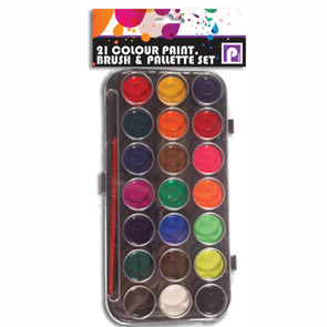 21 Colour Paint Pallette and Brush Set