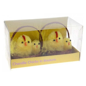 Wooden Basket With 2 Yellow Easter Chicks
