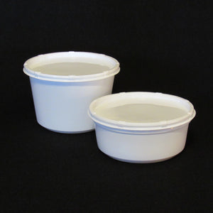 Live Bait Cups with Side Vented Lids,  White Plastic Cup, White Lid,  8 ounce and 16 ounce