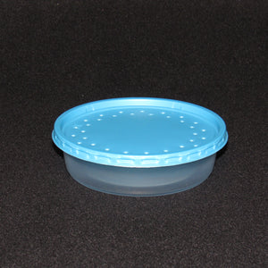 Clear Plastic Live Bait Cups and Blue Lids
