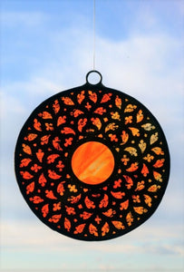 Stained Glass - Big Rosette in Shades of Orange