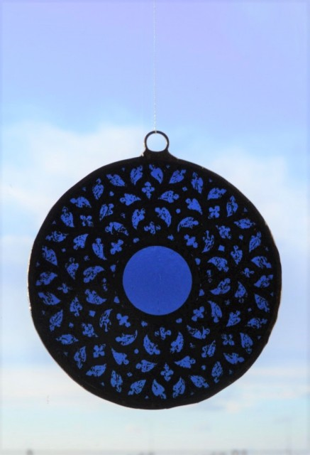 Stained Glass - Big Rosette in Shades of Blue