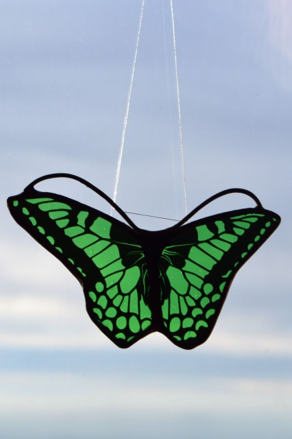 Stained Glass - Butterfly in Shades of Green