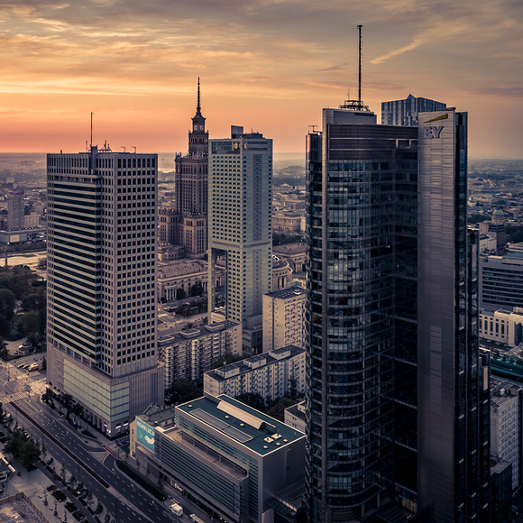 "Photo ""Poranek przy ONZ"" by Drone in Warsaw"