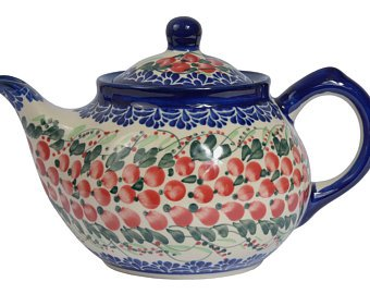 Boleslawiec  Polish Pottery  Handcrafted Ceramic 4-Cup Teapot with Lid (850ml)