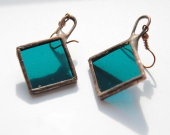 Square handmade earrings - ancient glass and copper