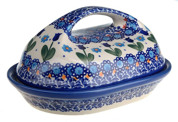 Boleslawiec Polish Pottery Hand Painted Stoneware, Ceramic Butter Dish with lid