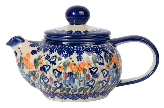 Boleslawiec Polish Pottery Hand Painted 2-Cup Ceramic Teapot with removable infuser 0.5 litre