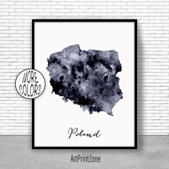 Poland Print Watercolor Map
