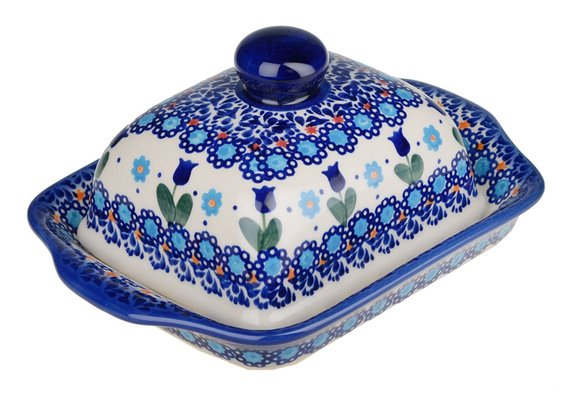 Boleslawiec Polish Pottery Hand Painted Stoneware Butter Dish with lid