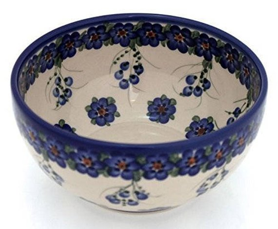 Polish Pottery Hand Painted Ceramic Salad Bowl 1.7 litres