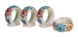 Boleslawiec Polish Pottery Hand Painted Ceramic Napkin Rings set of 4