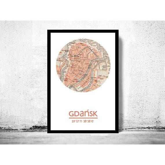 Gdansk - City Poster - City Map Poster Print - Posters