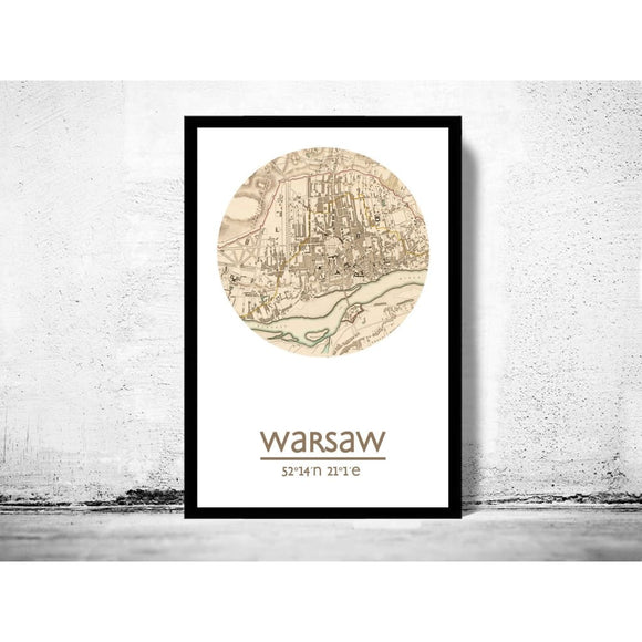 Warsaw- City Poster - City Map Poster Print - Posters