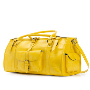Elgin handmade leather travel bag yellow