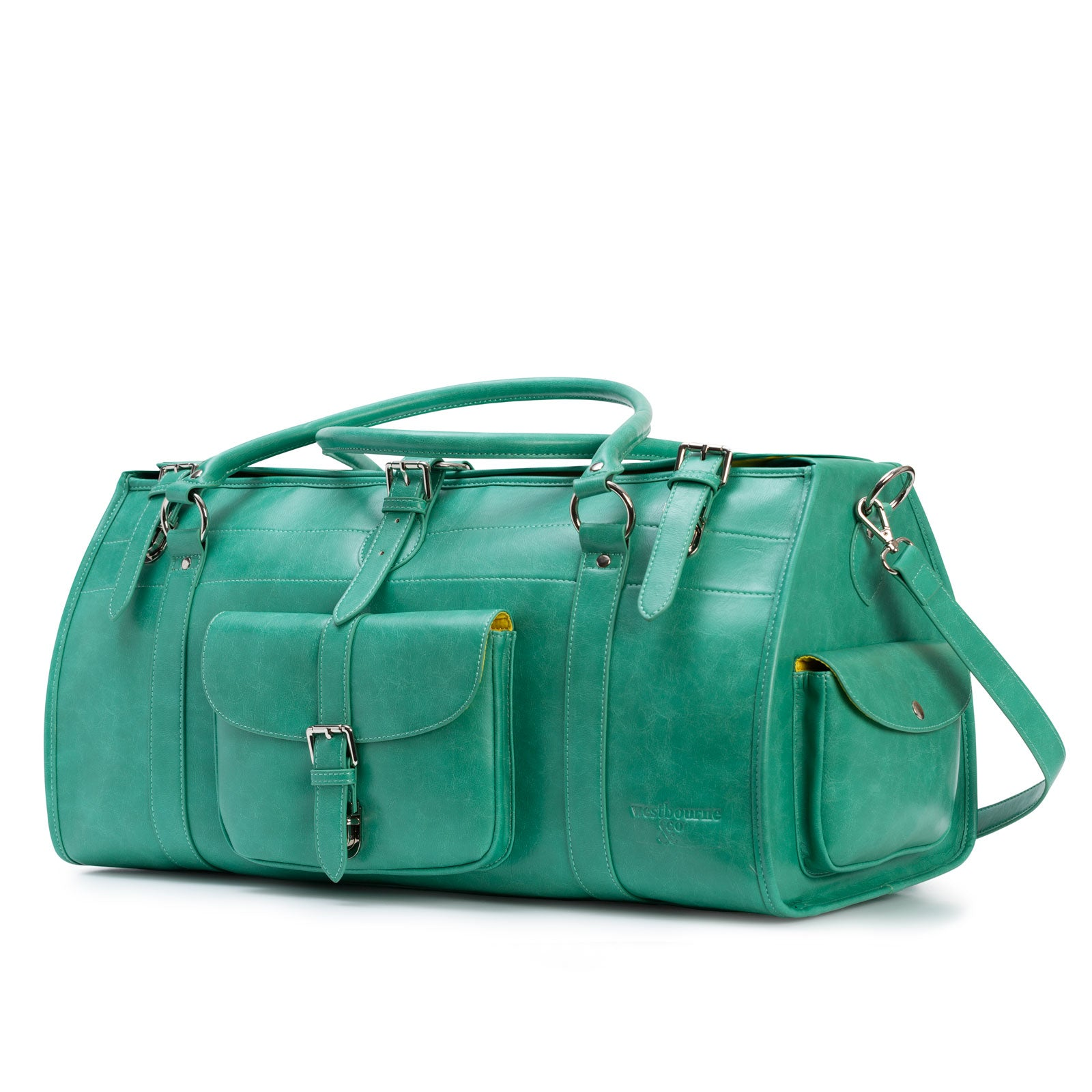 green leather hand luggage