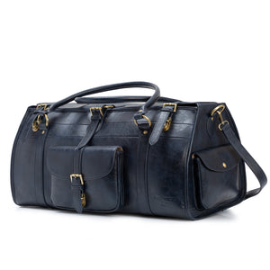 dark blue travel bag and luggage
