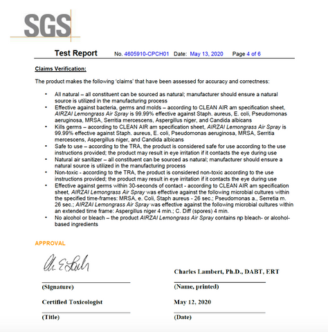 SGS Lab Test Results