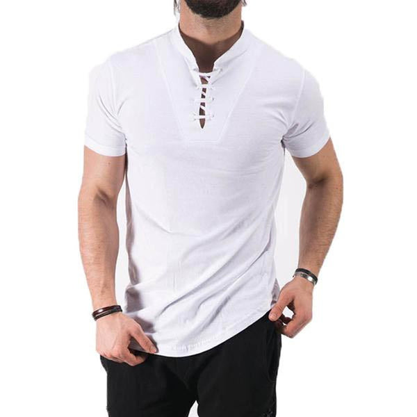 2018 Stylish Summer Lace Up T-shirt Men's Short Sleeve Stand Collar Elegant Cotton Blend Tee Top Casual Slim Fit Men T Shirt