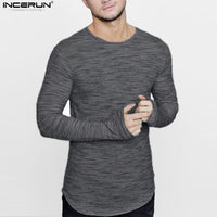 INCERUN 2018 Long Men T Shirt Soft Casual Extended Longline curved hem T-shirt Men Streetwear Hip Hop Style Long Sleeve t shirts
