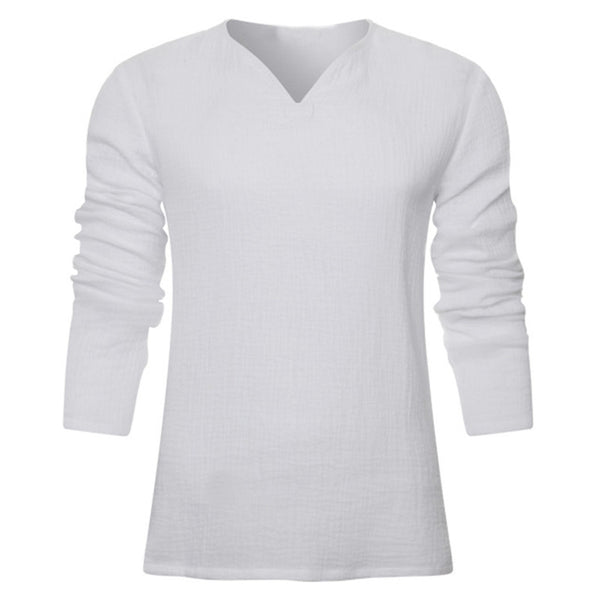 Men's Vintage White Long Sleeve T-Shirt 100% Cotton Thai Hiphop T Shirt Men V-Neck Summer Beach T-shirt Tee Tops For Man