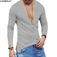 INCERUN 2018 Fashion Plus Size Men's Casual Slim Fit Deep V Neck Summer Pure Color Long Sleeve T-shirt Basic Tee Shirts S-5XL