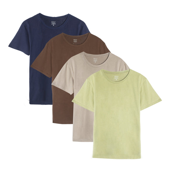 Men's Short Sleeve Plain Cotton T-Shirts (Pack of 4) Navy Blue/Brown/Olive Green/Khaki