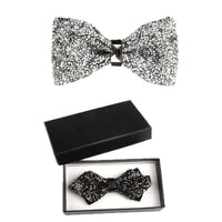 Men's Classic Solid Adjustble Crystal Bowtie Pre-tied for Party Wedding Set