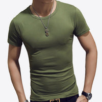LLYGE Men's Short Sleeve O Neck Casual T-Shirts Summer Solid Color Cotton Slim Fit Men Tees Tops Basic Style Fitness Male TShirt