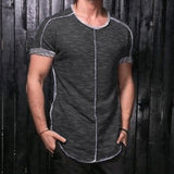 Stylish Male Tee Tops Summer Men T-Shirts Crew Neck Short Sleeve Loose HipHop Jogger Curve Hem Rough Patchwork Masculina 3XL