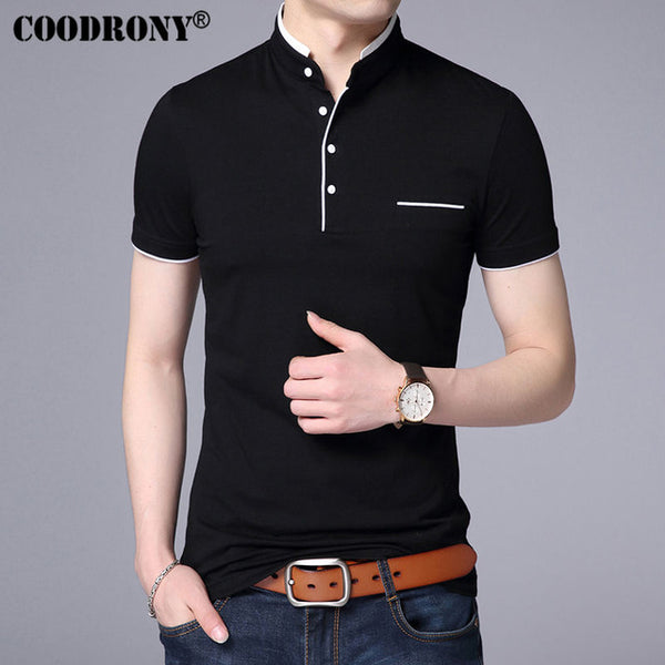 COODRONY Mandarin Collar Short Sleeve Tee Shirt Men 2018 Spring Summer New Top Men Brand Clothing Slim Fit Cotton T-Shirts S7645