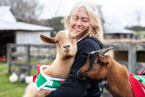 Little Buckets Farm Sanctuary Susan Klingenberg and Tater and Tot the Goats